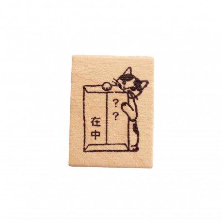 Tampon en bois Neko kawaii