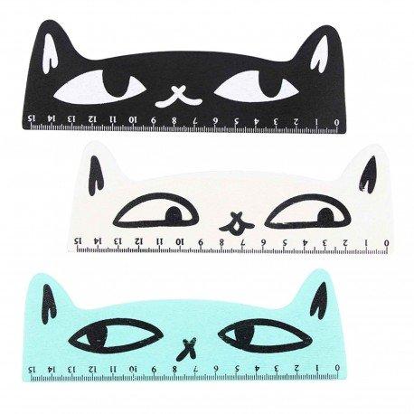 Règle en bois 15 cm Tête de chat