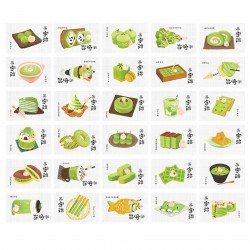 Lot de 5 cartes Matcha Wagashi
