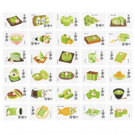 Lot de 5 cartes Matcha Wagashi