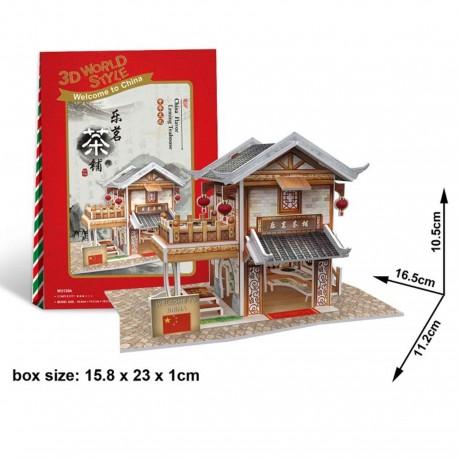 Puzzle 3D salon de thé chinois avec terrasse