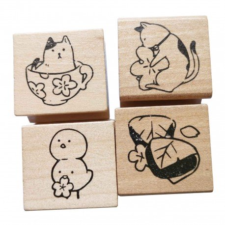 Lot de 4 tampons kawaii Chat et Wagashi
