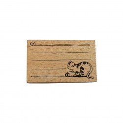 Tampon en bois chat et lignes