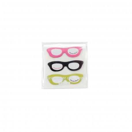 Mini marque pages repositionnables index en forme de trois paires de lunettes couleurs