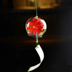 Grand carillon en verre Dahlia rouge