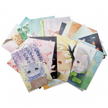 Lot de 5 cartes kawaii renard