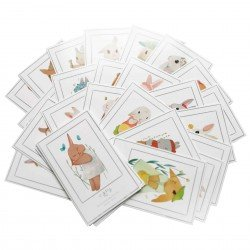 Lot de 5 cartes Lapin mignon