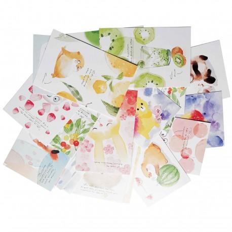 Lot de 5 cartes kawaii Animaux