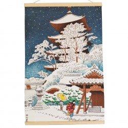 Kakemono Temple sous la neige