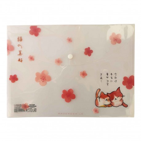 Protège documents A4 Chat et fleurs