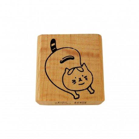 Tampon bois chat mignon