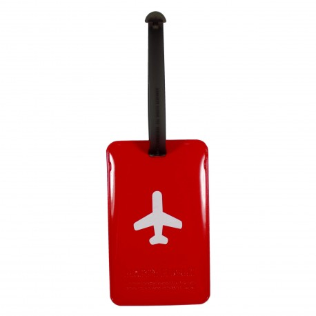 Porte-Etiquette nom & adresse bagage Happy Flight rouge