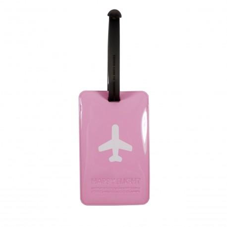 Porte-Etiquette nom & adresse bagage Happy Flight rose