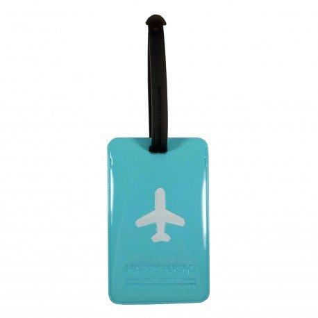Porte-Etiquette nom & adresse bagage Happy Flight bleu menthe