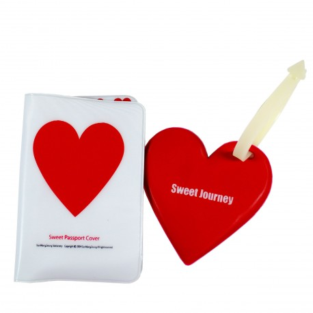 Kit porte passeport et porte adresse pour bagage Coeur