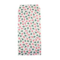 Pochette cadeau - Fleurs roses et vertes