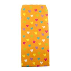 Pochette cadeau - Coeurs multi couleur effet de dessin en crayon couleur de fond jaune gingembre