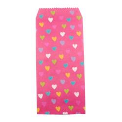 Pochette cadeau - Coeurs multi couleur effet de dessin en crayon couleur de fond rose Incarnat