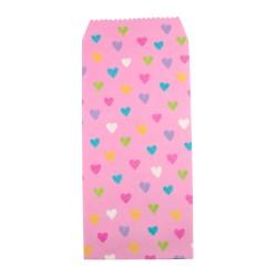 Pochette cadeau - Coeurs multicouleur effet dessin crayon couleur de fond rose dragée