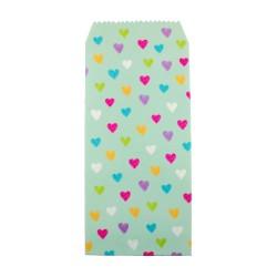 Pochette cadeau - Coeurs multicouleur effet de dessin crayon fond couleur verte opaline