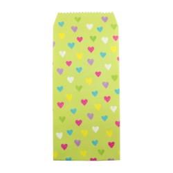 Pochette cadeau - Coeurs multicouleur effet dessin en crayon couleur de fond verte pistache