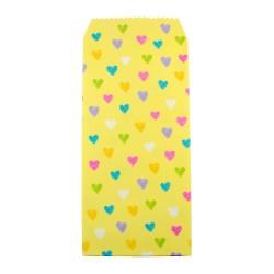 Pochette cadeau - Coeurs multicouleur effet dessin crayon couleur de fond jaune clair