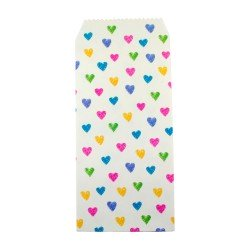Pochette cadeau - Coeurs multicouleur effet dessin de crayon couleur de fond blanche