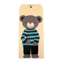 Pochette cadeau - Ourson brun en pull rayure noir et bleu et un fond à motif des carreaux couleur jaune claire