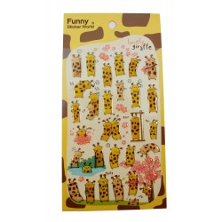 Sticker - Girafe et les fleurs de ceriser