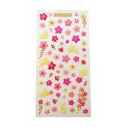 Sticker - Lapins et fleurs de cerisier