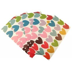 Pochette cadeau - Coeur multi couleurs taille grande