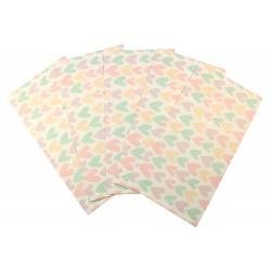 Pochette cadeau - Grands coeurs multi couleur pastel