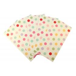 Pochette cadeau - Petits pois multi couleur sur un fond de couleur blanc crème