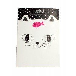Carnet kawaii chat blanc et poisson rose