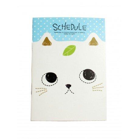 Carnet kawaii chat blanc et feuille verte