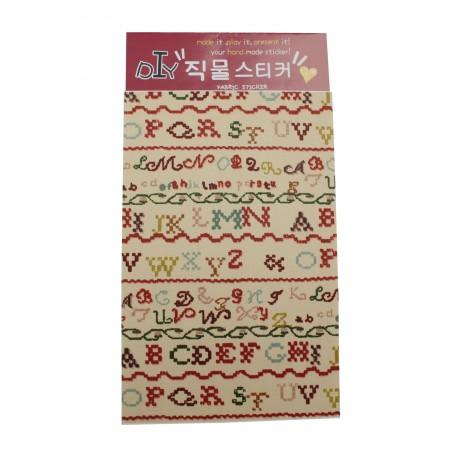 Tissu autocollant à motif des lettres brodées