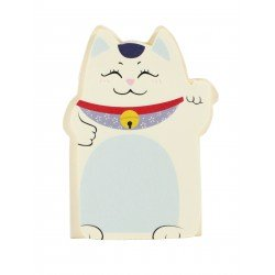 Memo repositionnable Chat Maneki-neko chat bleu