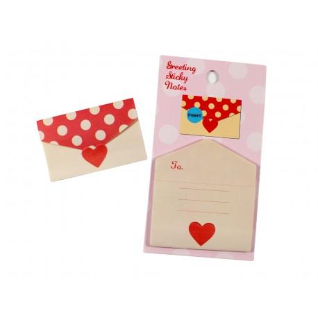 Mini notes repositionnables en forme d'enveloppe à motif petits pois crème avec un coeur rouge