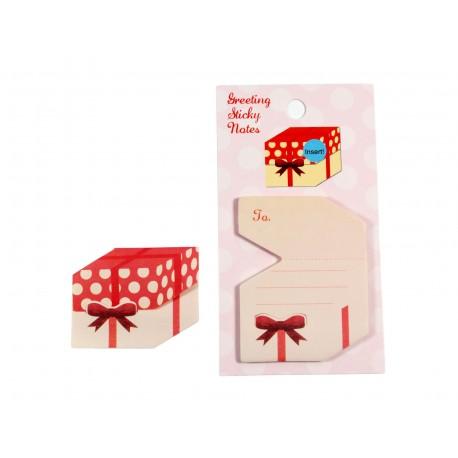 Mini notes repositionnables en forme de boîte cadeau à motif petits pois et noeud de papillon