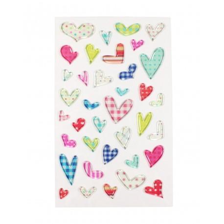 Sticker - Coeurs transparents à motif coloré