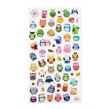 Sticker - hiboux couleur