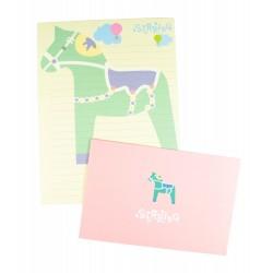 Papier à lettre & enveloppe assorti cheval à bascule vert