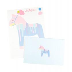Papier à lettre & enveloppe assorti cheval à bascule bleu