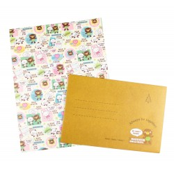 Papier à lettre & enveloppe assorti lapin et ourson kawaii