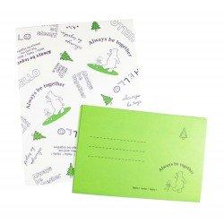 Papier à lettre & enveloppe assorti petit garçon et son ami ourson