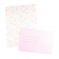 Papier à lettre & enveloppe assorti ourson rose douceur