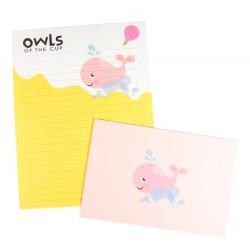 Papier à lettre & enveloppe assorti baleine rose