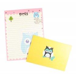 Papier à lettre & enveloppe assorti hibou bleu