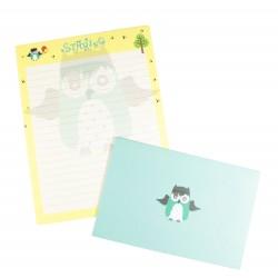 Papier à lettre & enveloppe assorti hibou vert