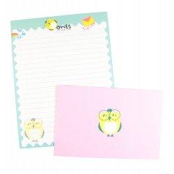 Papier à lettre & enveloppe assorti hibou jaune